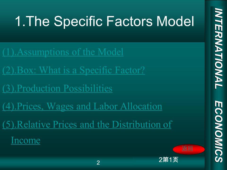 INTERNATIONAL ECONOMICS 03/01/20 COPY RIGHT 13 1 Figure 3-5 Production in the Specific Factors Model QMQM QFQF QF1QF1 QM1QM1 1 Slope=-(P M /P F ) 1 P 13