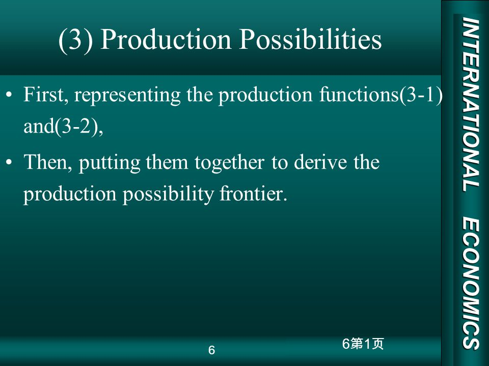 INTERNATIONAL ECONOMICS 03/01/20 COPY RIGHT 6 1 (3) Production Possibilities First, representing the production functions(3-1) and(3-2), Then, putting