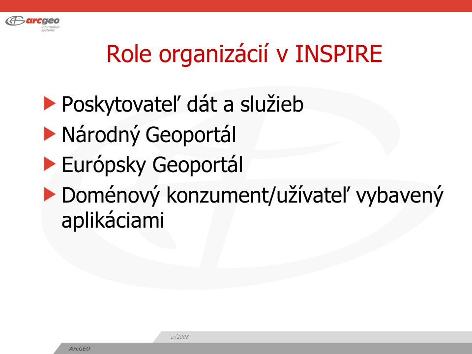 eif2008 ArcGEO Role organizácií v INSPIRE Poskytovateľ dát a služieb Národný Geoportál Európsky Geoportál Doménový konzument/užívateľ vybavený aplikáciami