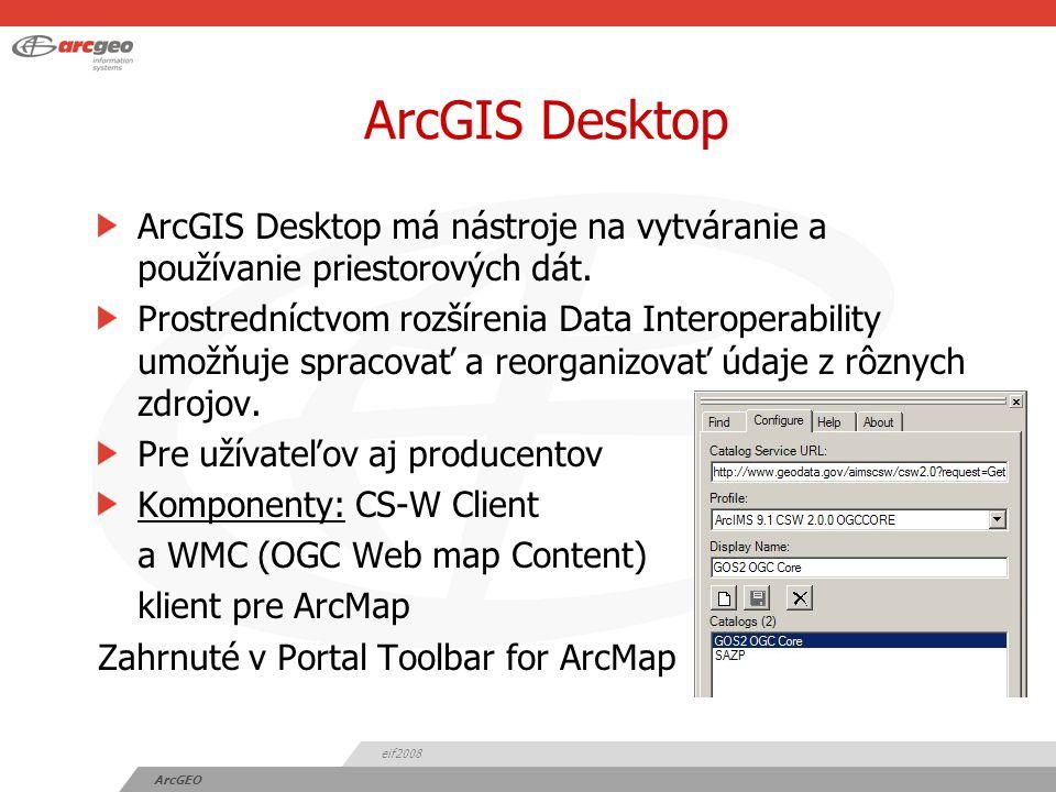 eif2008 ArcGEO ArcGIS Desktop ArcGIS Desktop má nástroje na vytváranie a používanie priestorových dát.