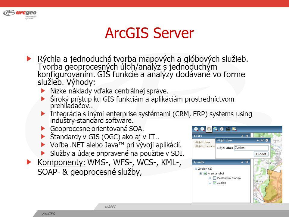 eif2008 ArcGEO ArcGIS Explorer Poskytuje možnosť priameho prístupu ku službám a ich kombinovanie v prostredí desktop aplikácie.