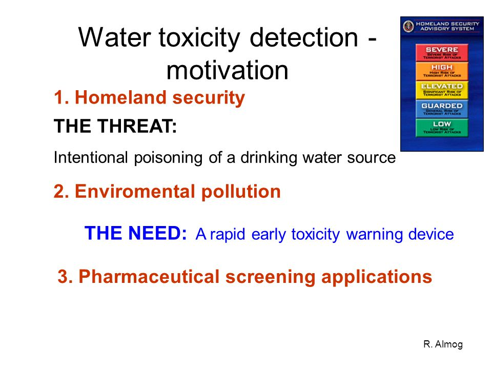 R. Almog Water toxicity detection - motivation 1. Homeland security THE THREAT: Intentional poisoning of a drinking water source 2. Enviromental pollu
