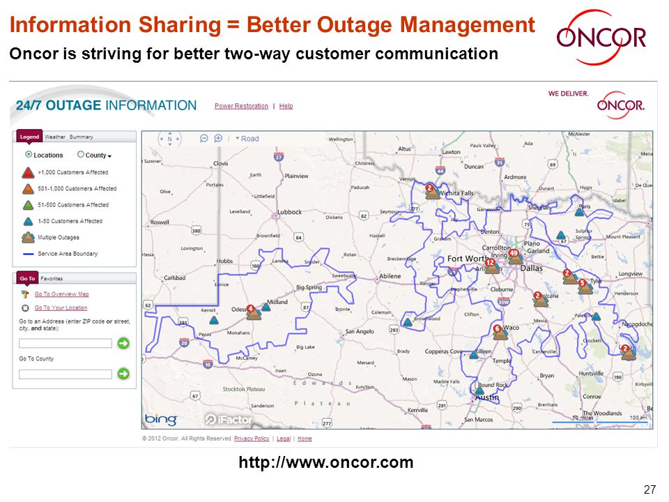 27 Information Sharing = Better Outage Management Oncor is striving for better two-way customer communication