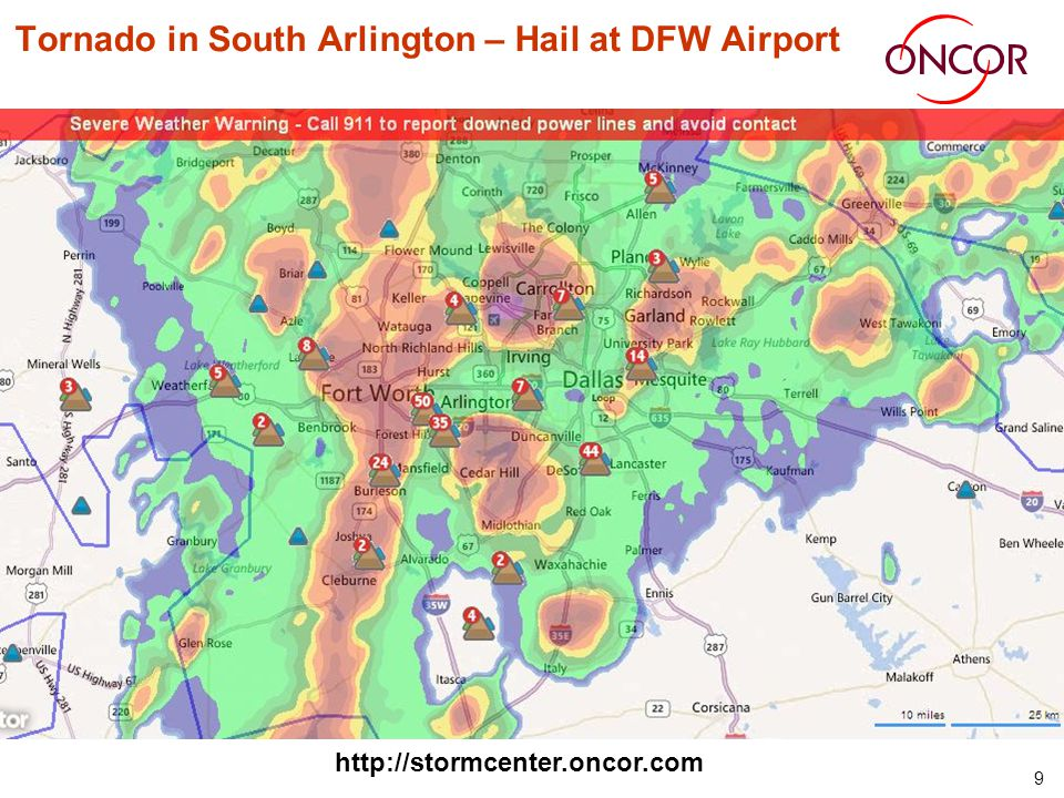 9 Tornado in South Arlington – Hail at DFW Airport http://stormcenter.oncor.com