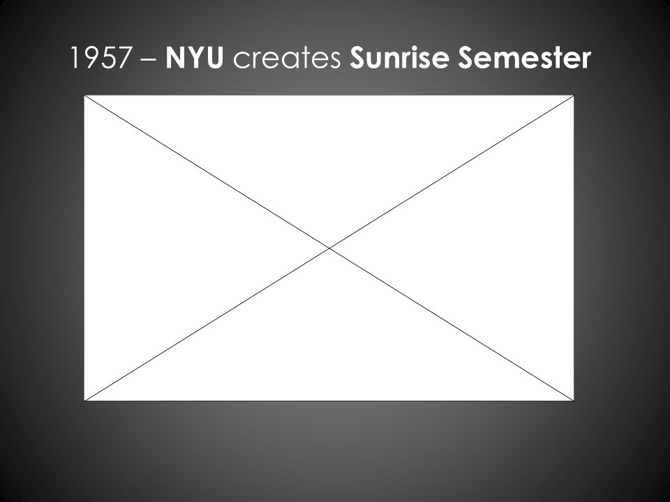 1957 – NYU creates Sunrise Semester