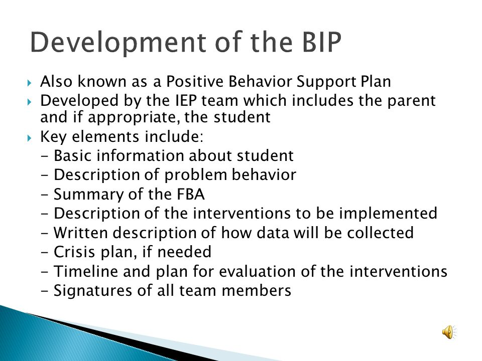 Also known as a Positive Behavior Support Plan Developed by the IEP team which includes the parent and if appropriate, the student Key elements includ