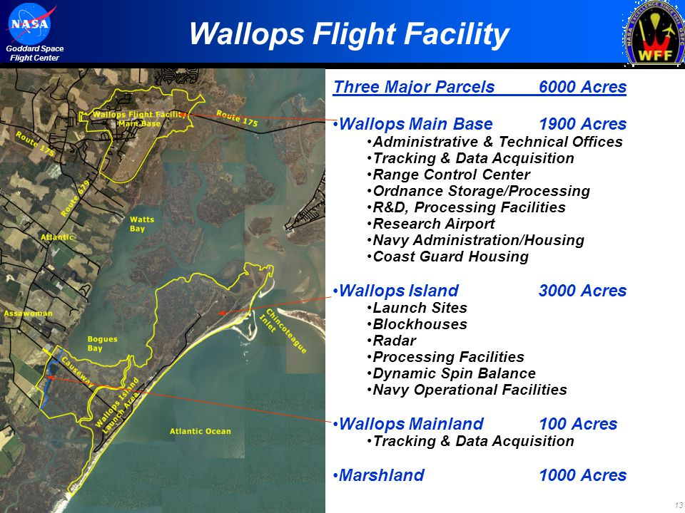13 Goddard Space Flight Center Wallops Flight Facility Three Major Parcels6000 Acres Wallops Main Base1900 Acres Administrative & Technical Offices Tr