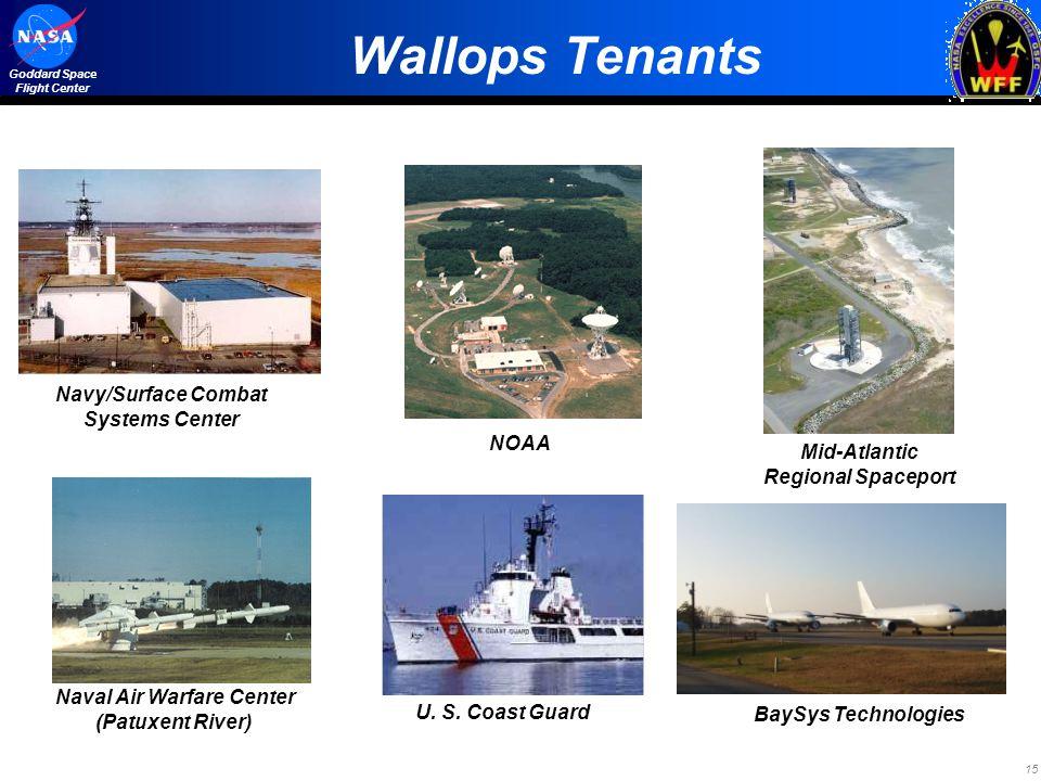 15 Goddard Space Flight Center Wallops Tenants Naval Air Warfare Center (Patuxent River) Mid-Atlantic Regional Spaceport U. S. Coast Guard NOAA Navy/S