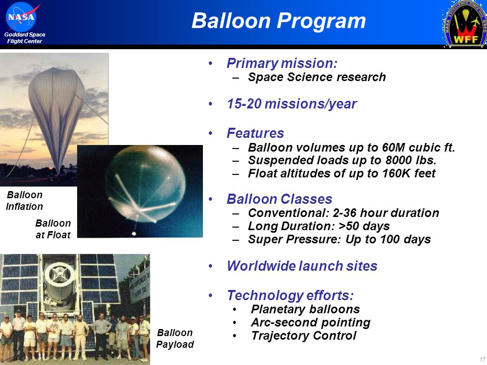 17 Goddard Space Flight Center Balloon Program Primary mission: –Space Science research 15-20 missions/year Features –Balloon volumes up to 60M cubic