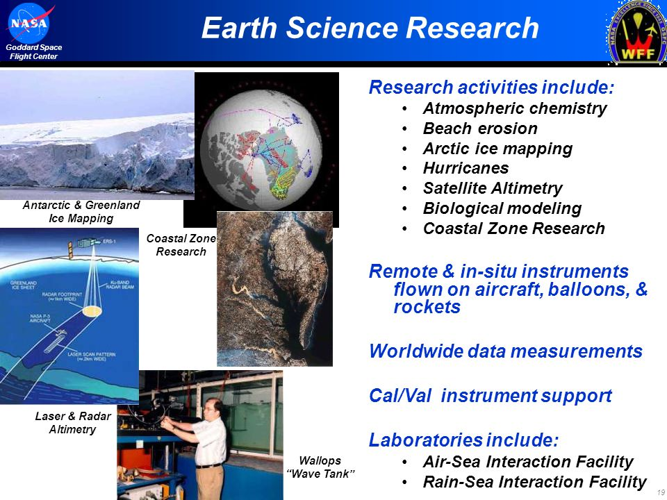 19 Goddard Space Flight Center Research activities include: Atmospheric chemistry Beach erosion Arctic ice mapping Hurricanes Satellite Altimetry Biol