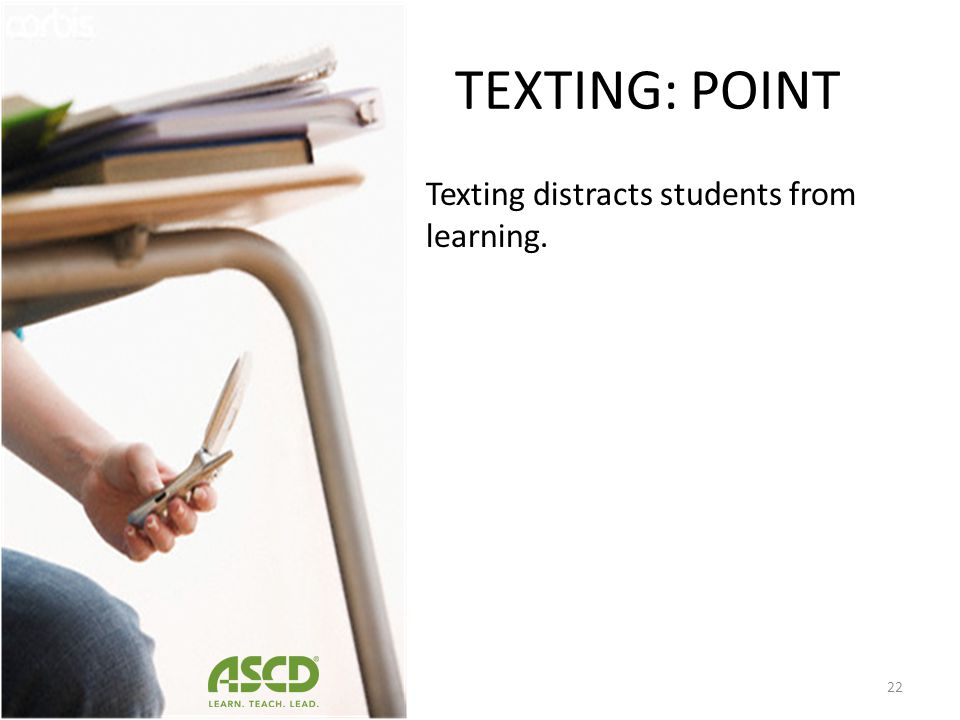 TEXTING: COUNTER- POINT Students code switch Textese is not harmful to students ability to write. Texting did NOT negatively affect students writing s