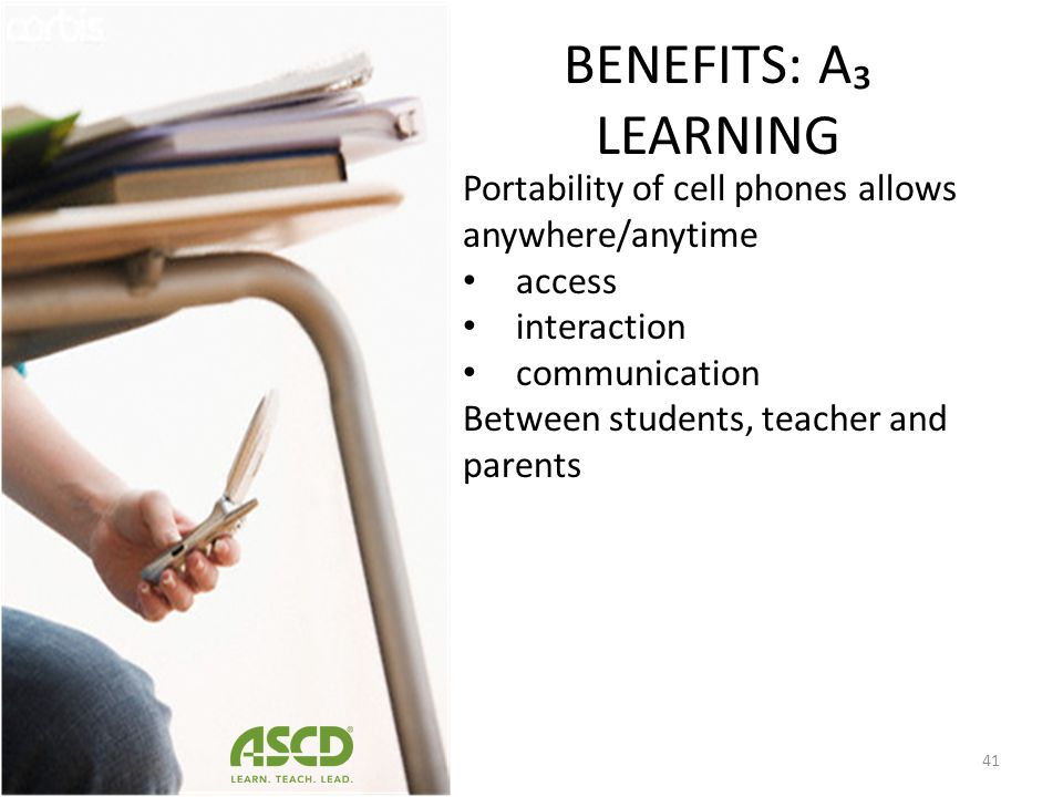 BENEFITS Instructionally, smart phones support: Content creation (Hartnell-Young & Vetere 2008), Student-centered learning, collaboration (Corbeil & V
