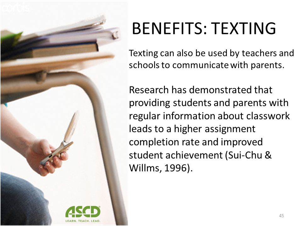 BENEFITS: TEXTING Cell Phone Study: Learning Letters with Elmo Evaluate of educational effectiveness of cell phone Parents reported an increase in chi