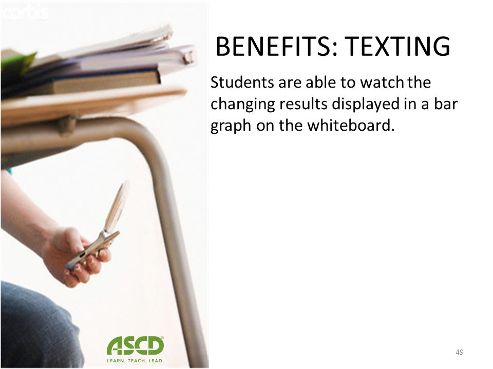 BENEFITS: TEXTING As students enter the classroom, the teacher has posted a brainstorming question asking students what they believe to be the most im