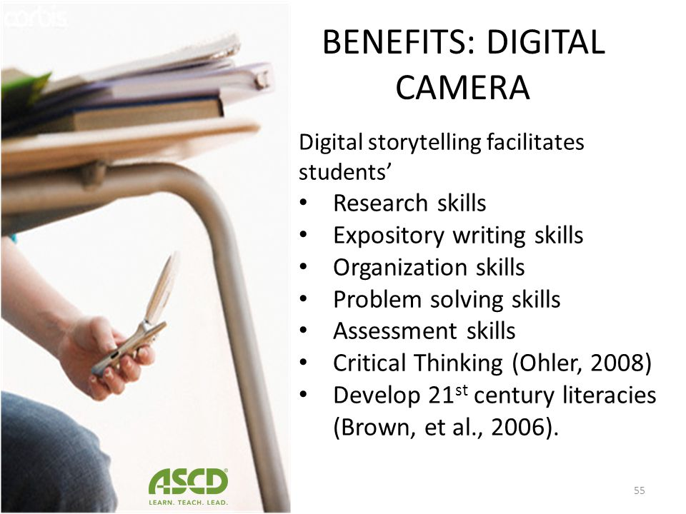 BENEFITS: DIGITAL CAMERA Used in the classroom for: Data collection, Scientific visualization, Communication in science, Facilitation of reading, Writ