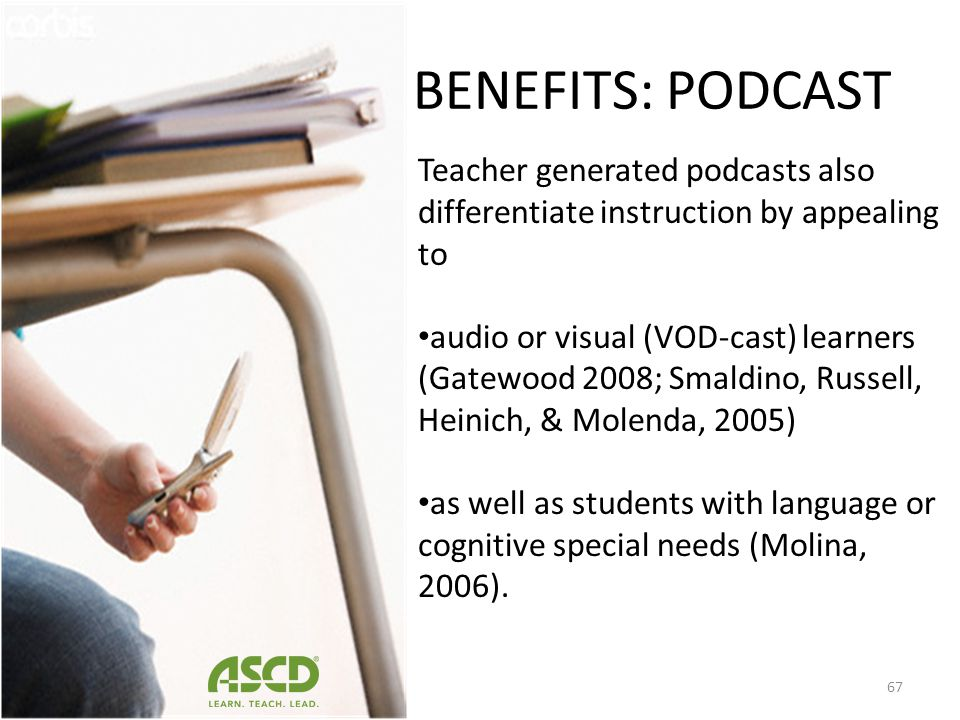 Teachers can create instructional podcast to augment instruction provide students with anytime/anywhere access to class content (Bongey, Cizadlo, & Ka