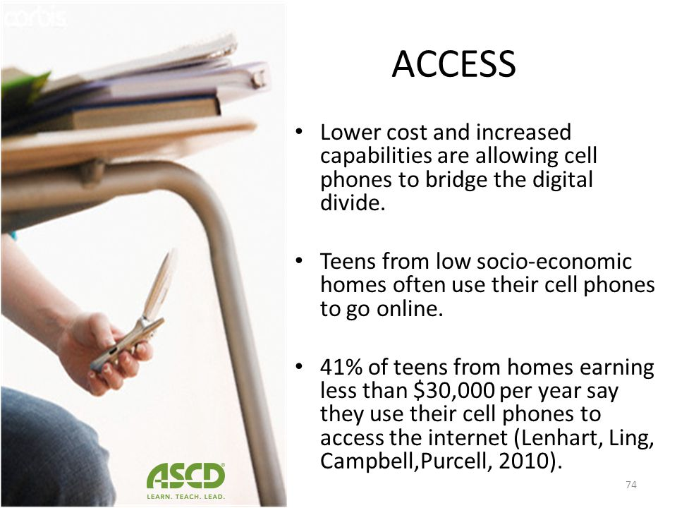 The most recent research indicates that 85% of adults and 75% of teens own a cell phone (Smith, 2010). 82% of high school aged teens own a cell phone