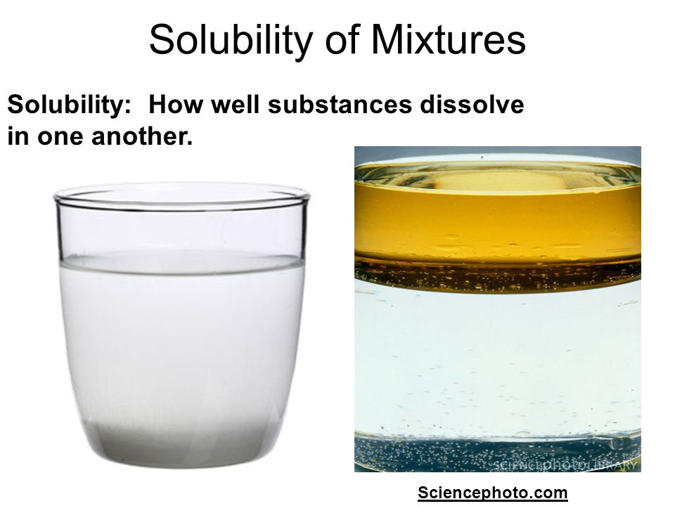 Solubility of Mixtures Chemistryland.comSciencephoto.com Solubility: How well substances dissolve in one another.