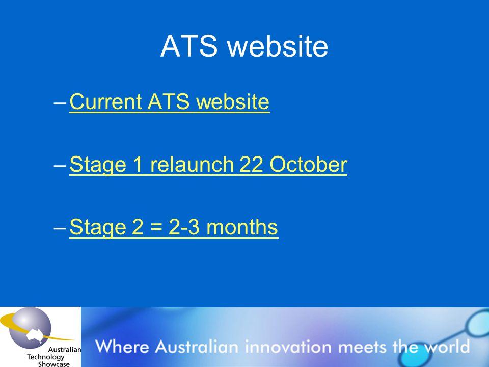 ATS website –Current ATS websiteCurrent ATS website –Stage 1 relaunch 22 OctoberStage 1 relaunch 22 October –Stage 2 = 2-3 monthsStage 2 = 2-3 months