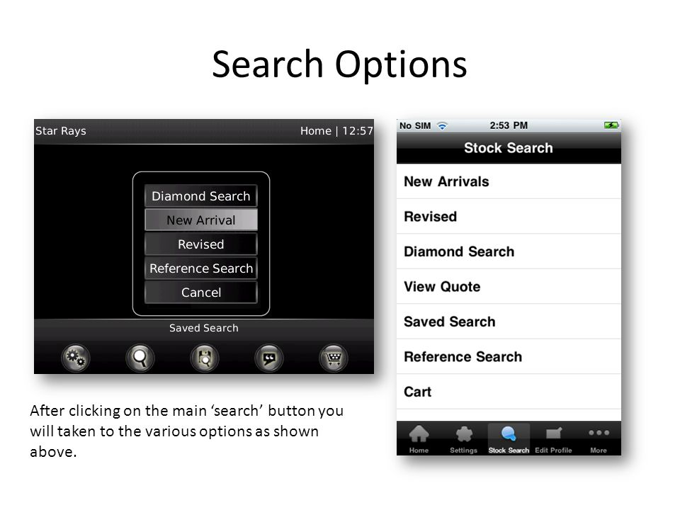 Search Options After clicking on the main search button you will taken to the various options as shown above.