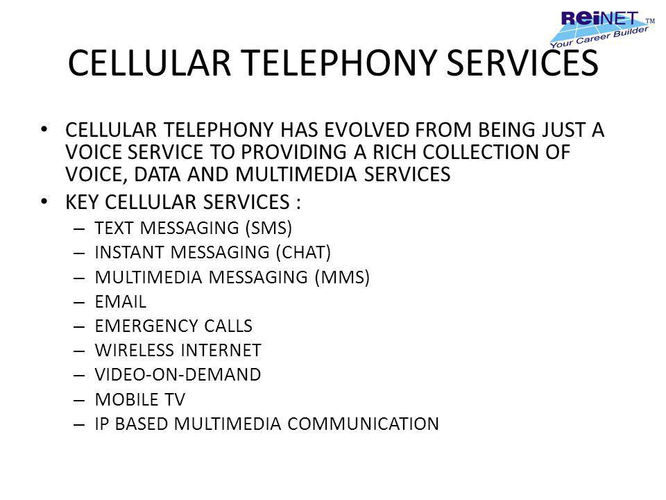 CELLULAR TELEPHONY SERVICES CELLULAR TELEPHONY HAS EVOLVED FROM BEING JUST A VOICE SERVICE TO PROVIDING A RICH COLLECTION OF VOICE, DATA AND MULTIMEDI
