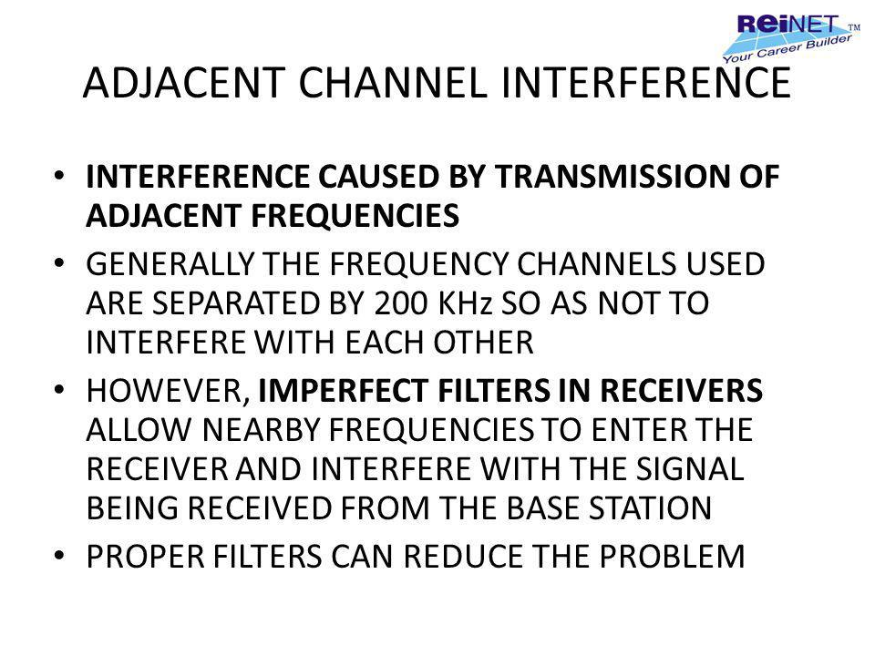ADJACENT CHANNEL INTERFERENCE INTERFERENCE CAUSED BY TRANSMISSION OF ADJACENT FREQUENCIES GENERALLY THE FREQUENCY CHANNELS USED ARE SEPARATED BY 200 K