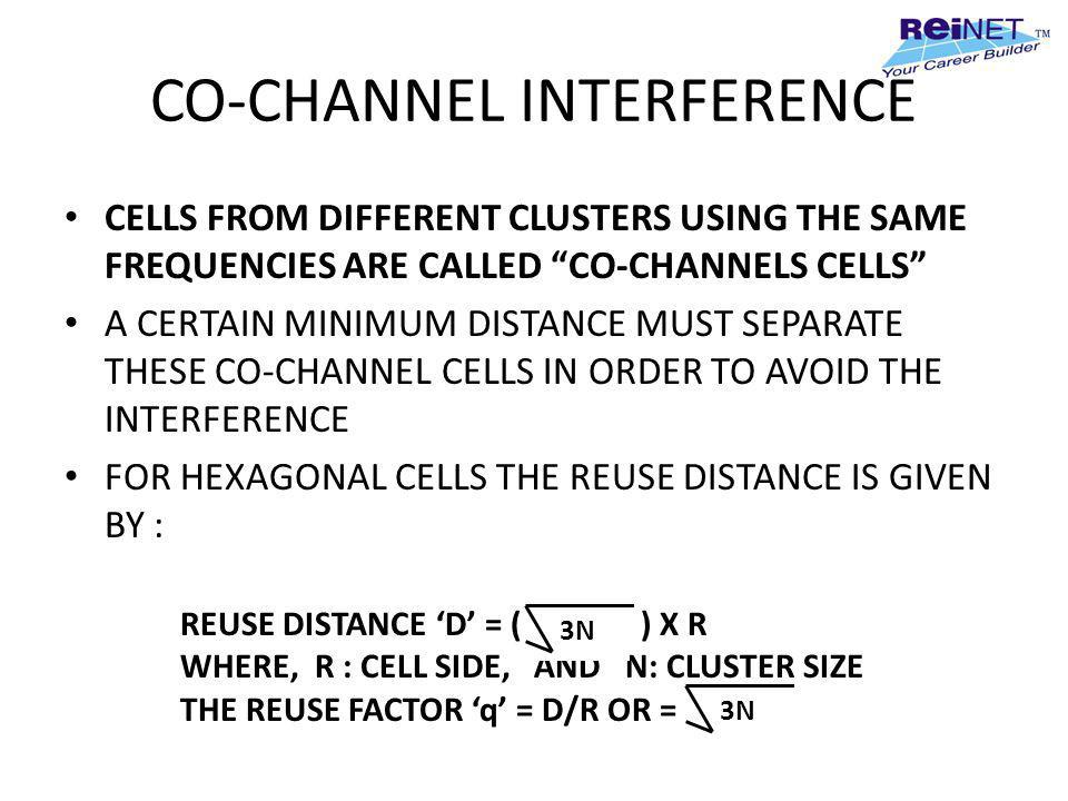 CO-CHANNEL INTERFERENCE CELLS FROM DIFFERENT CLUSTERS USING THE SAME FREQUENCIES ARE CALLED CO-CHANNELS CELLS A CERTAIN MINIMUM DISTANCE MUST SEPARATE
