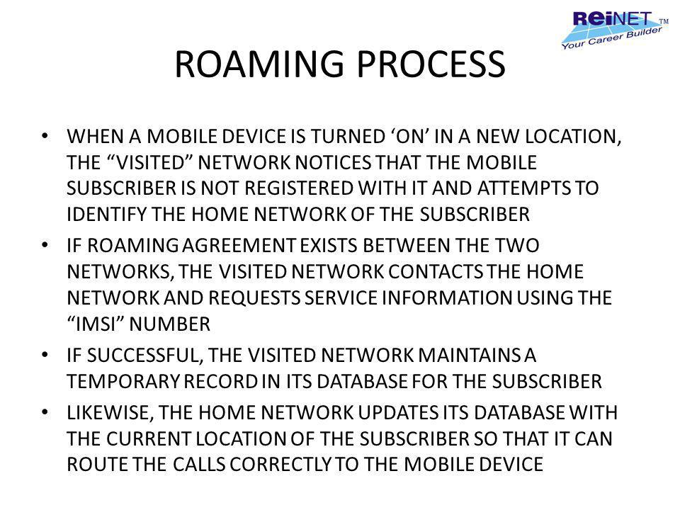 ROAMING PROCESS WHEN A MOBILE DEVICE IS TURNED ON IN A NEW LOCATION, THE VISITED NETWORK NOTICES THAT THE MOBILE SUBSCRIBER IS NOT REGISTERED WITH IT
