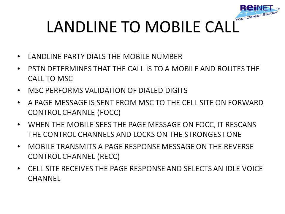 LANDLINE PARTY DIALS THE MOBILE NUMBER PSTN DETERMINES THAT THE CALL IS TO A MOBILE AND ROUTES THE CALL TO MSC MSC PERFORMS VALIDATION OF DIALED DIGIT