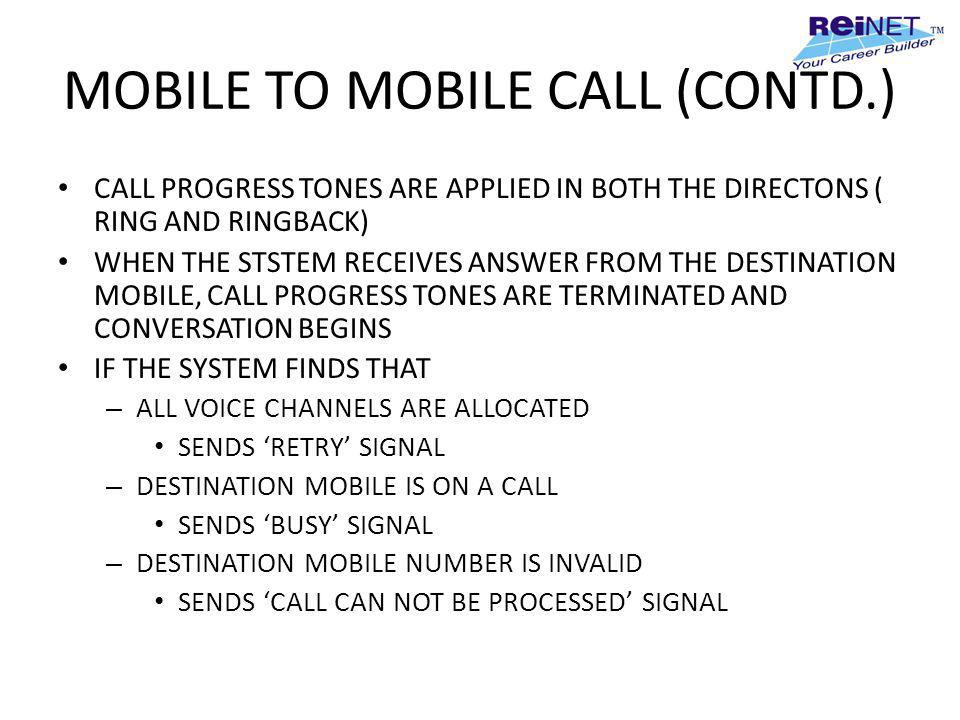 MOBILE TO MOBILE CALL (CONTD.) CALL PROGRESS TONES ARE APPLIED IN BOTH THE DIRECTONS ( RING AND RINGBACK) WHEN THE STSTEM RECEIVES ANSWER FROM THE DES