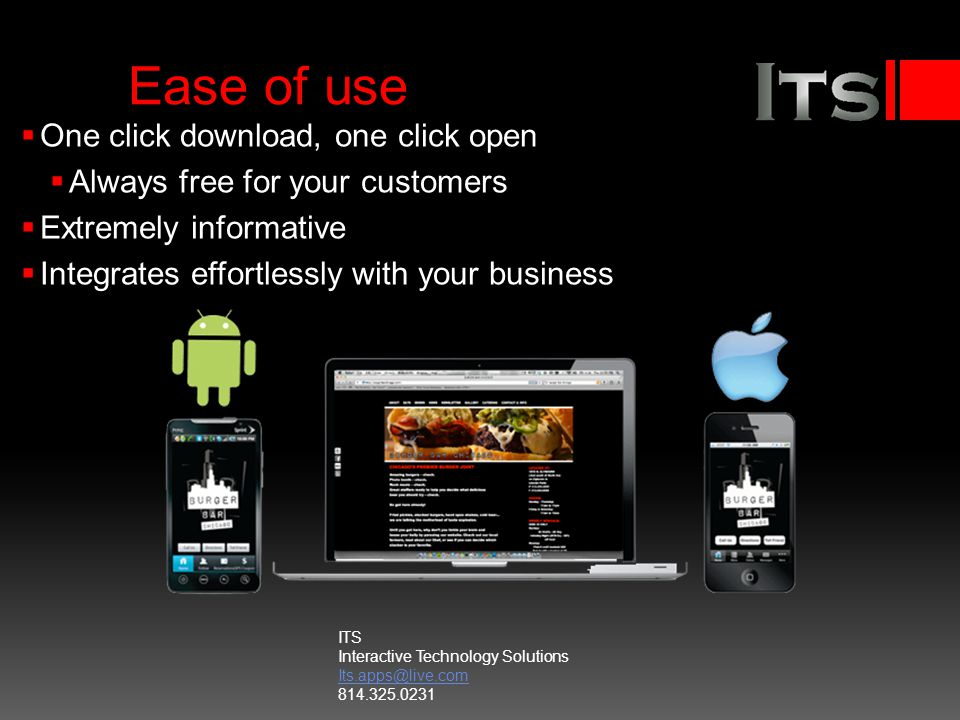 Ease of use One click download, one click open Always free for your customers Extremely informative Integrates effortlessly with your business ITS Interactive Technology Solutions