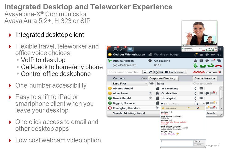 © 2012 Avaya, Inc. All rights reserved. Integrated Desktop and Teleworker Experience Avaya one-X ® Communicator Avaya Aura 5.2+, H.323 or SIP Integrat
