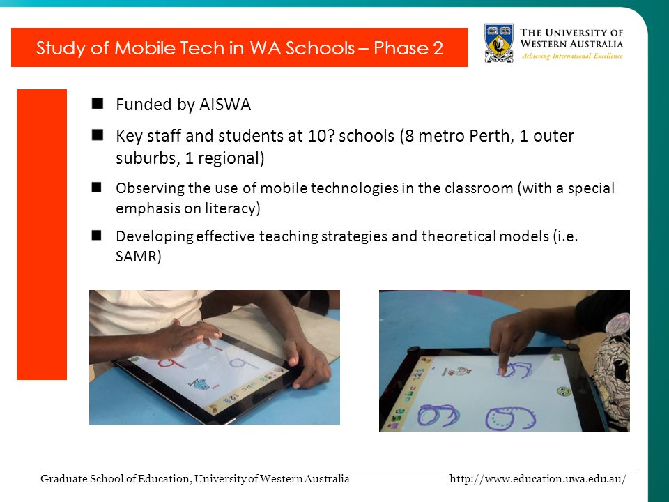 Graduate School of Education, University of Western Australia http://www.education.uwa.edu.au/ Funded by AISWA Key staff and students at 10.