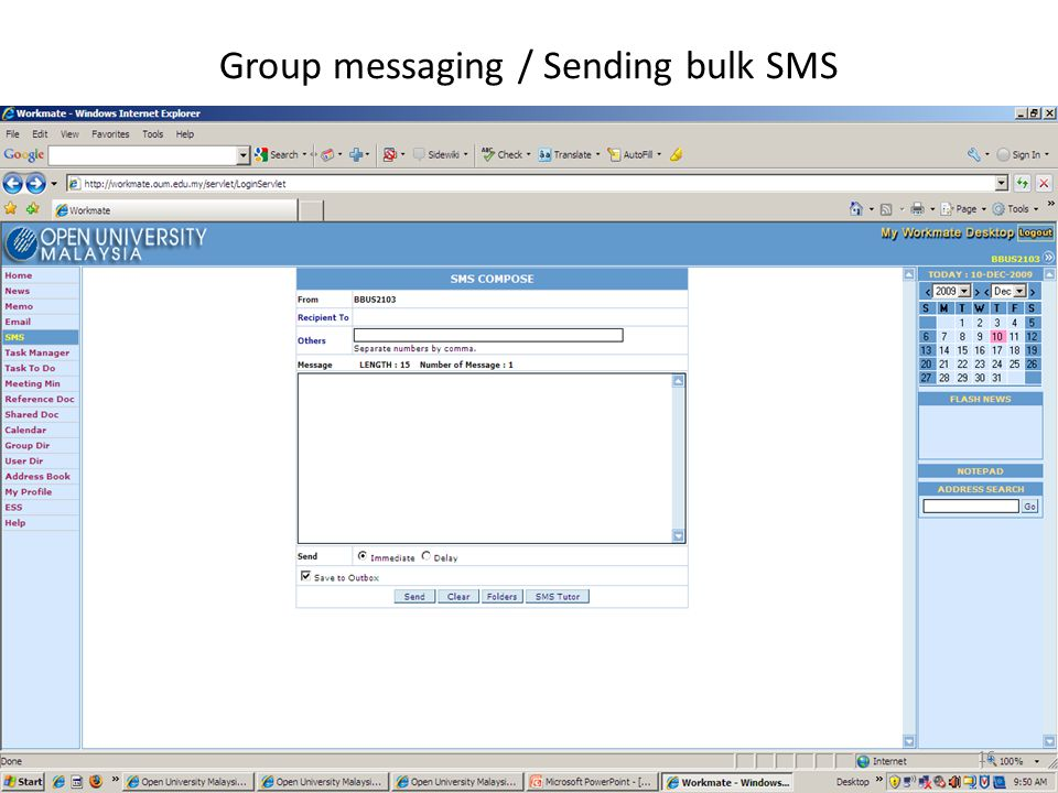 Group messaging / Sending bulk SMS 16