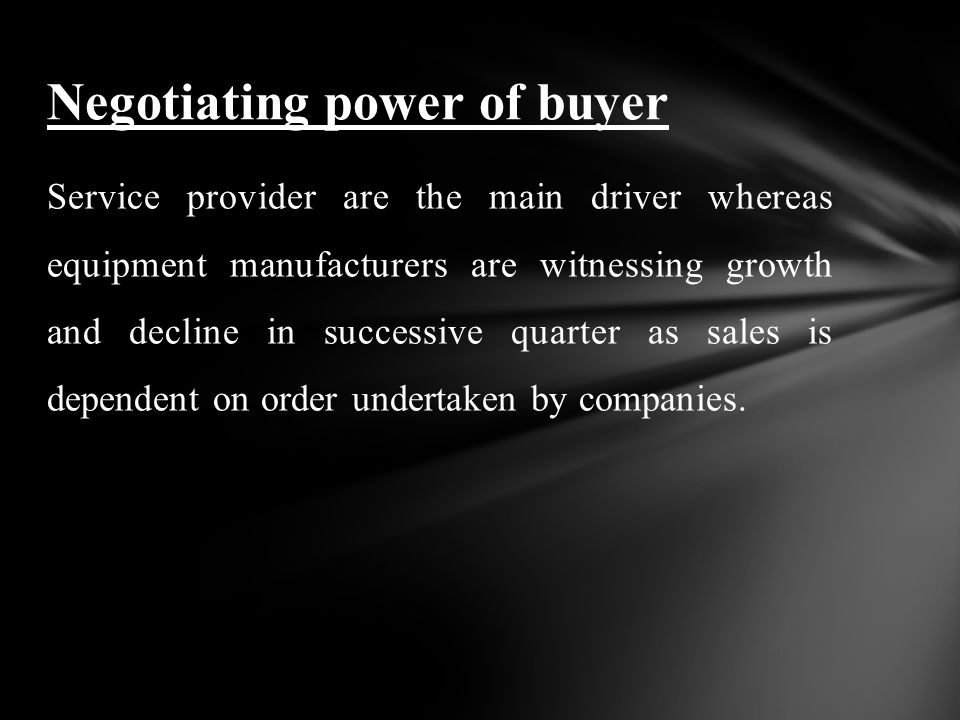 Service provider are the main driver whereas equipment manufacturers are witnessing growth and decline in successive quarter as sales is dependent on order undertaken by companies.
