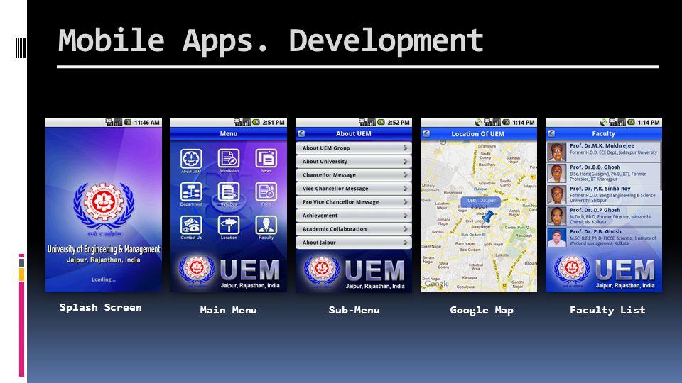 Splash Screen Main MenuSub-MenuGoogle MapFaculty List