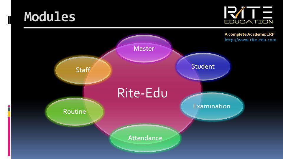 Modules A complete Academic ERP http://www.rite-edu.com Rite-Edu MasterStudentExaminationAttendanceRoutineStaff