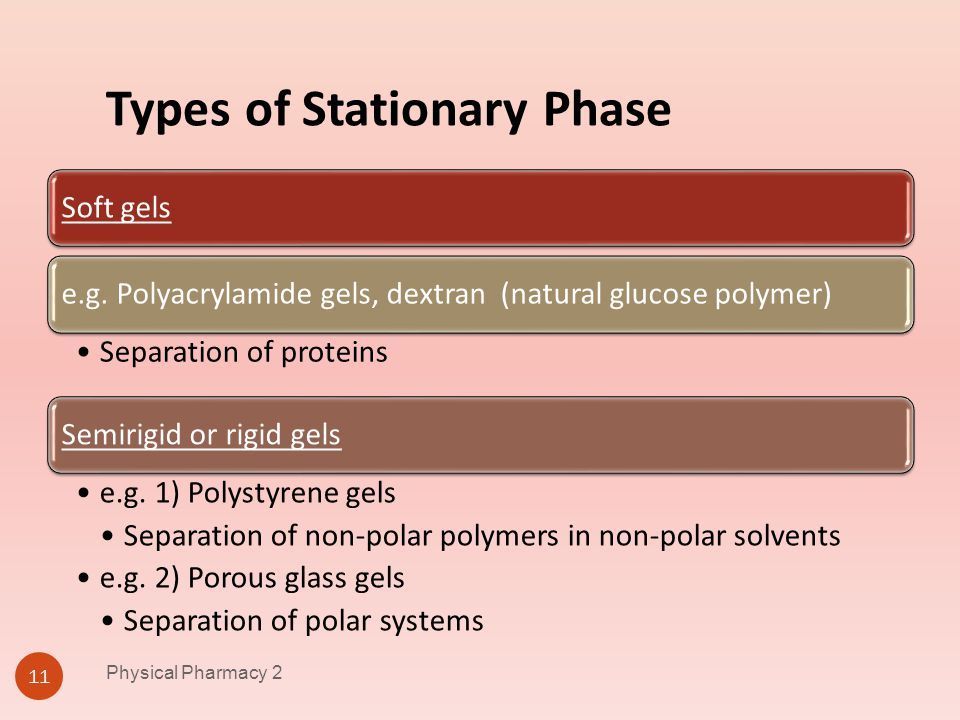 Types of Stationary Phase Physical Pharmacy 2 11 Soft gelse.g. Polyacrylamide gels, dextran (natural glucose polymer) Separation of proteins Semirigid