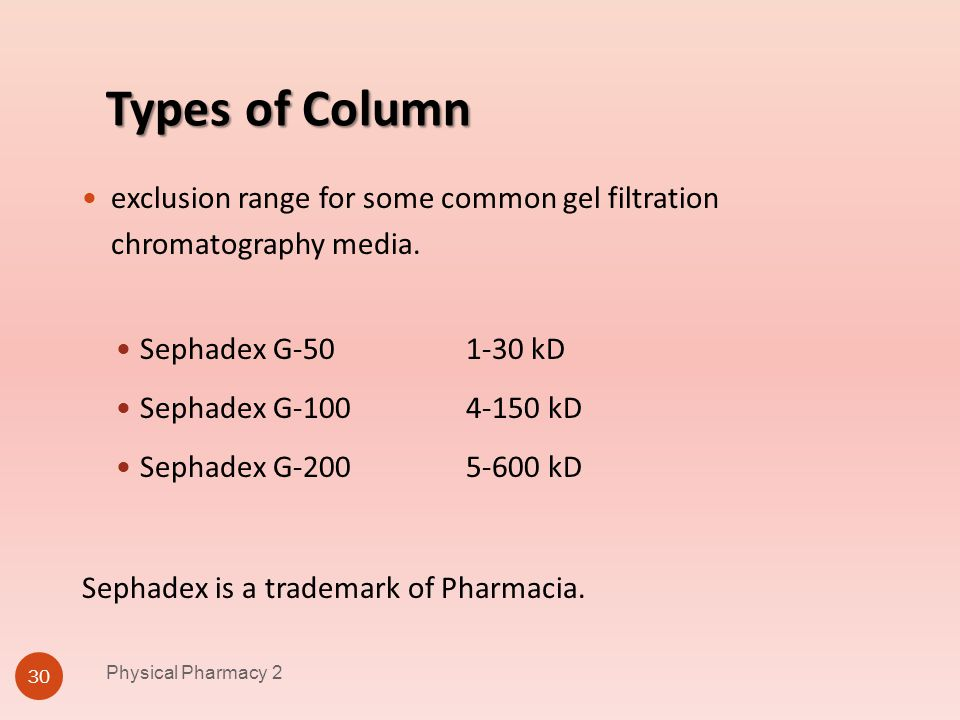 Types of Column Physical Pharmacy 2 30 exclusion range for some common gel filtration chromatography media. Sephadex G-50 1-30 kD Sephadex G-100 4-150