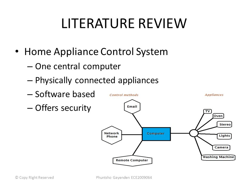 LITERATURE REVIEW Home Appliance Control System – One central computer – Physically connected appliances – Software based – Offers security Phuntsho G
