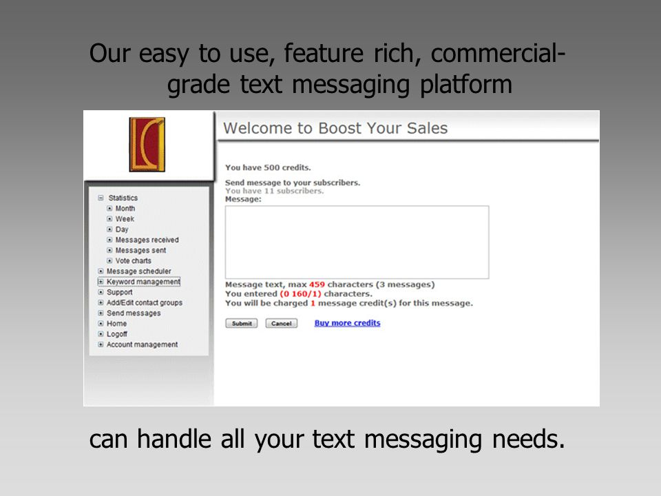 Our easy to use, feature rich, commercial- grade text messaging platform can handle all your text messaging needs.