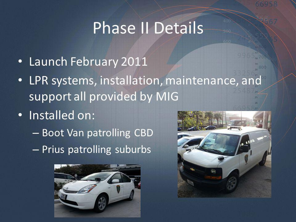 Phase II Details Launch February 2011 LPR systems, installation, maintenance, and support all provided by MIG Installed on: – Boot Van patrolling CBD