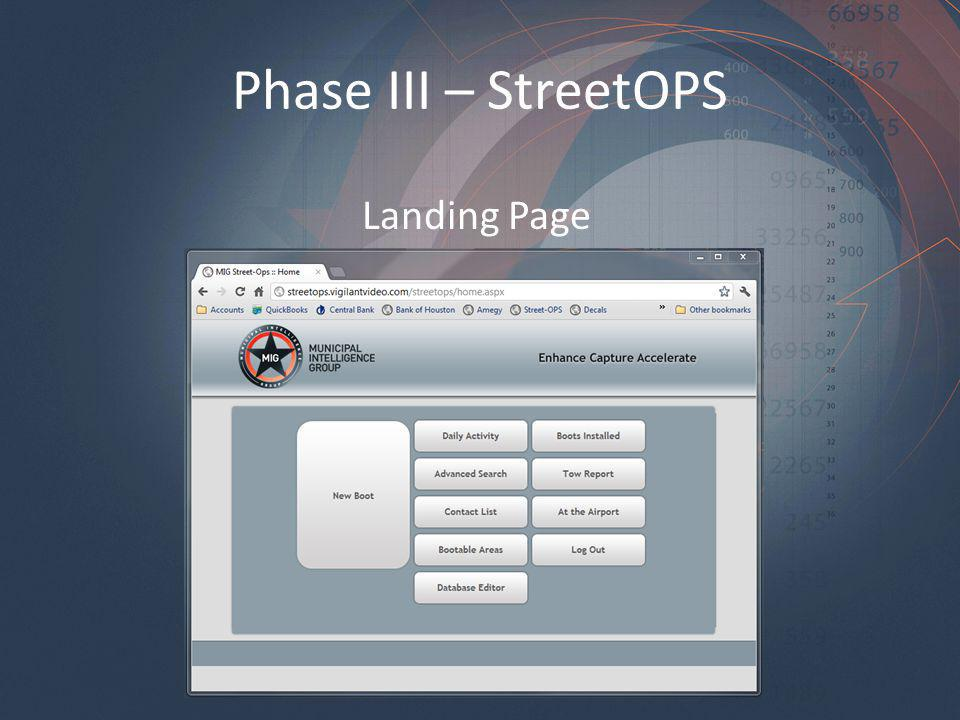 Phase III – StreetOPS Landing Page