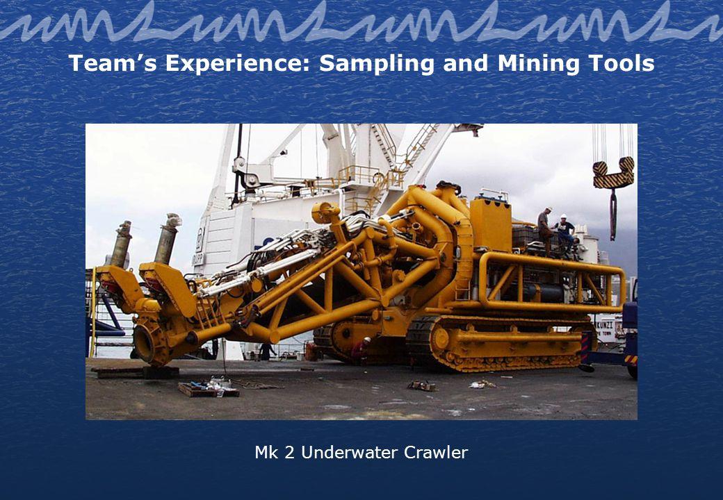 Teams Experience: Sampling and Mining Tools Mk 2 Underwater Crawler
