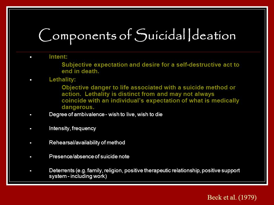 Components of Suicidal Ideation Intent: Subjective expectation and desire for a self-destructive act to end in death. Lethality: Objective danger to l