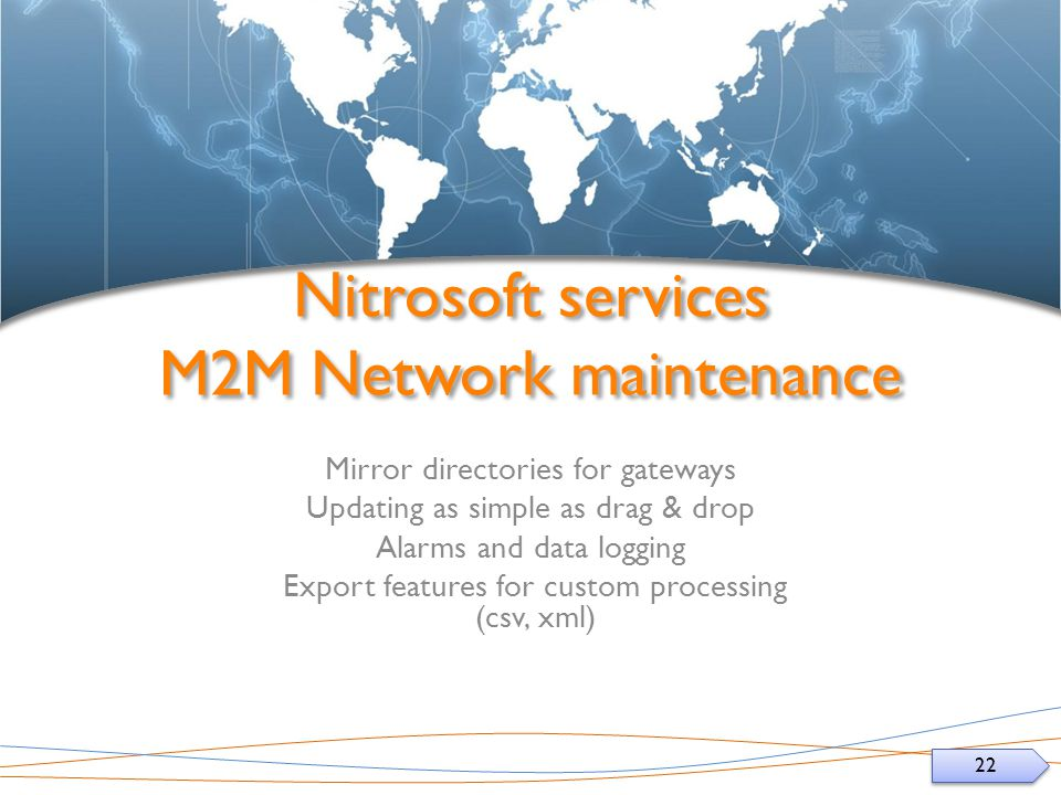 22 Nitrosoft services M2M Network maintenance Mirror directories for gateways Updating as simple as drag & drop Alarms and data logging Export features for custom processing (csv, xml)