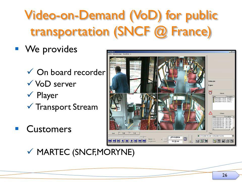 26 Video-on-Demand (VoD) for public transportation (SNCF @ France) We provides On board recorder VoD server Player Transport Stream Customers MARTEC (SNCF,MORYNE)