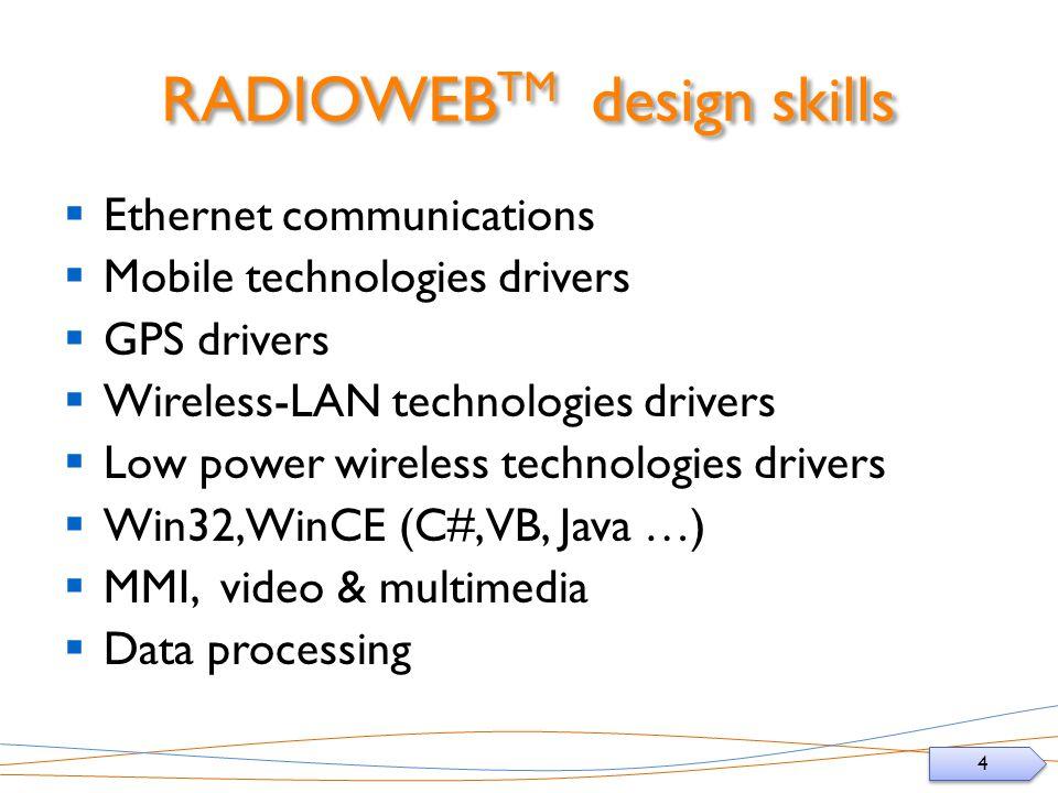 4 4 RADIOWEB TM design skills Ethernet communications Mobile technologies drivers GPS drivers Wireless-LAN technologies drivers Low power wireless technologies drivers Win32, WinCE (C#, VB, Java …) MMI, video & multimedia Data processing