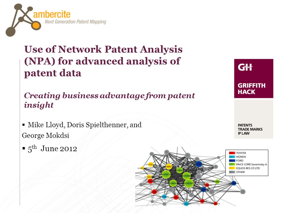 Use of Network Patent Analysis (NPA) for advanced analysis of patent data Creating business advantage from patent insight Mike Lloyd, Doris Spielthenn