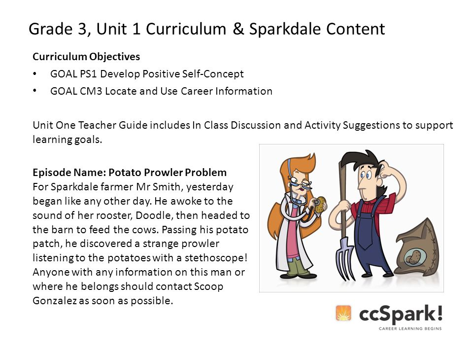 Grade 3, Unit 1 Curriculum & Sparkdale Content Curriculum Objectives GOAL PS1 Develop Positive Self-Concept GOAL CM3 Locate and Use Career Information Unit One Teacher Guide includes In Class Discussion and Activity Suggestions to support learning goals.